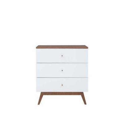 COMMODE HEDA 3TROIRS MELEZE ET BLANC BRILLANT