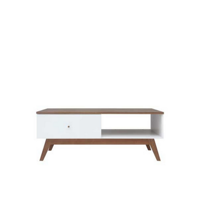 TABLE BASSE HEDA MELEZE ET BLANC BRILLANT