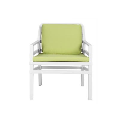Fauteuil ARIA Blanc+assises et coussins vert