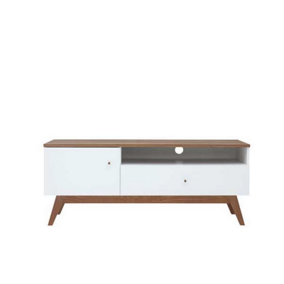 TABLE TV HEDA 1PORTE 1TIROIR MELEZE ET BLANC BRILLANT