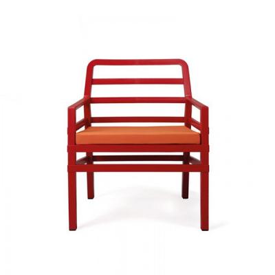 Fauteuil ARIA rouge+ assises + coussins orange