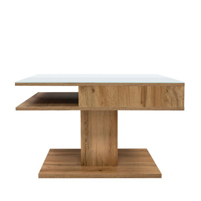 TABLE BASSE CAMPO CHÊNE VERRE BLANC