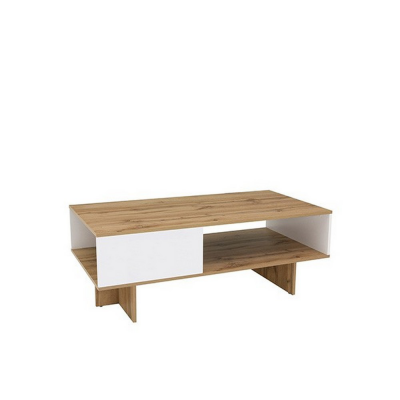 TABLE BASSE ZELE CHÊNE ET BLANC BRILLANT