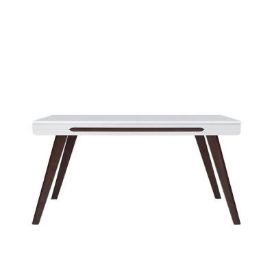 TABLE EXTENSIBLE AZTECA TRIO BLANC BRILLANT/CHENE BRUN WENGE