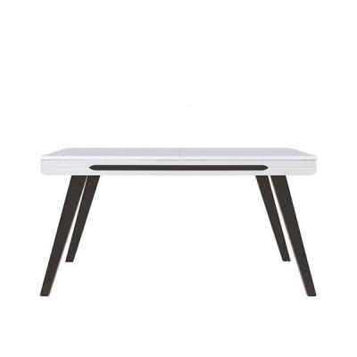 TABLE EXTENSIBLE AZTECA TRIO BLANC BRILLANT/NOIR