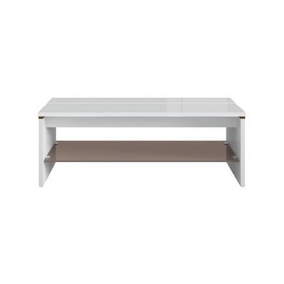 TABLE BASSE AZTECA BLANC BRILLANT ET CHÊNE