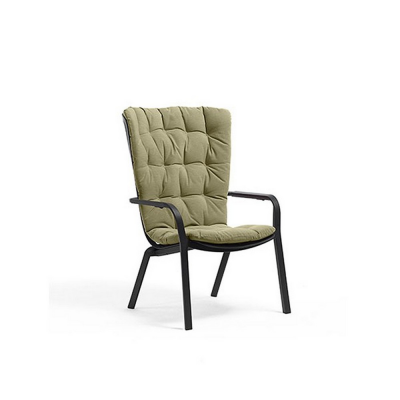 FAUTEUIL FOLIO ANTHRACITE + COUSSIN VERT FELCE