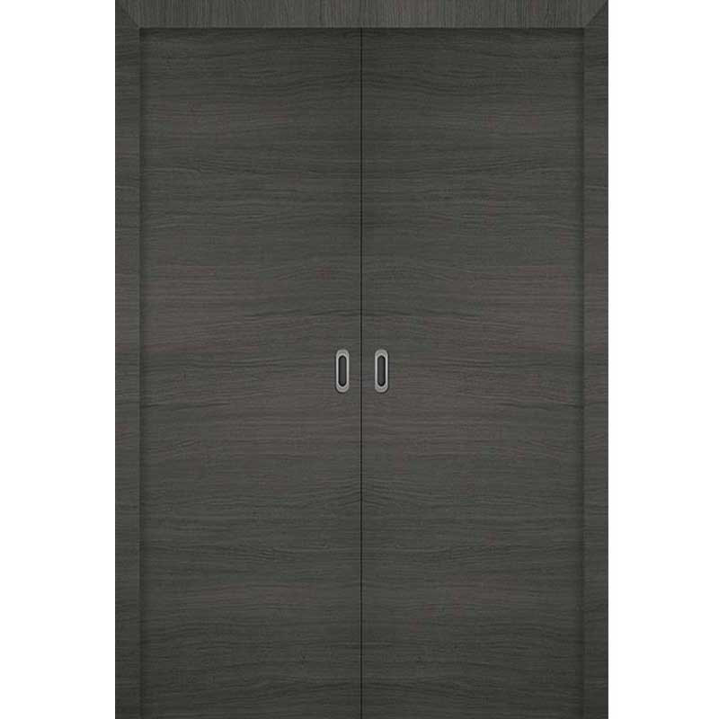 Porte 160 coulissante double 3d gris for Porte double coulissante