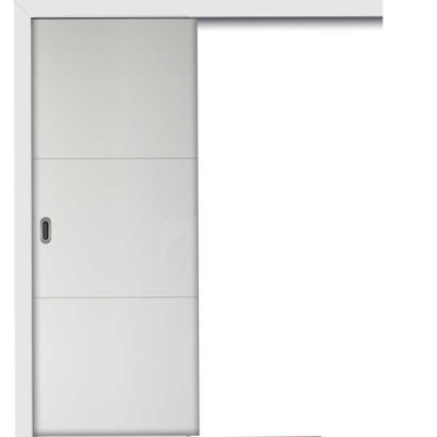Porte HD BLANC INLAY IG2H coulissante apparente 80cm droite