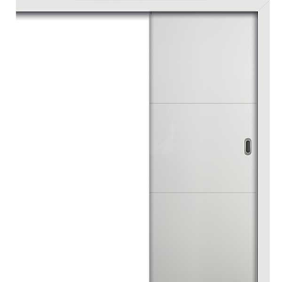 Porte HD BLANC INLAY IG2H coulissante apparente 80cm gauche