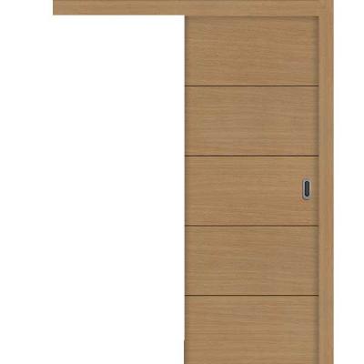 Porte SD CHÊNE HORIZONTAL PANTOGRAPHIE coulissante apparente 80cm gauche